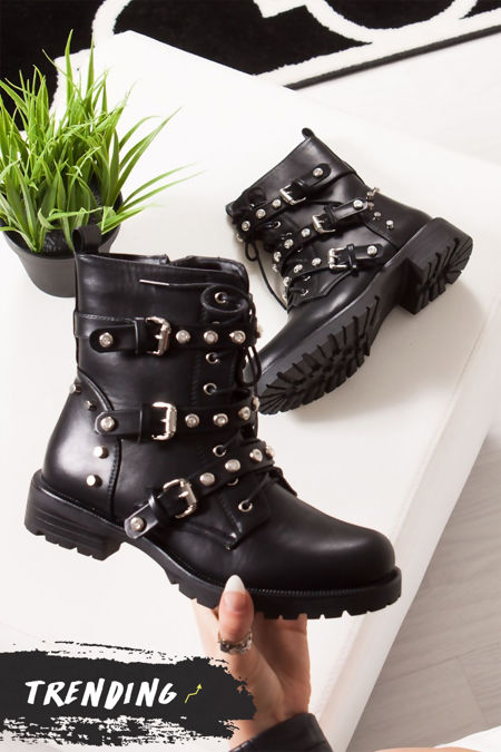 ZARA Black Stud Jewel Biker Boots In Faux Leather
