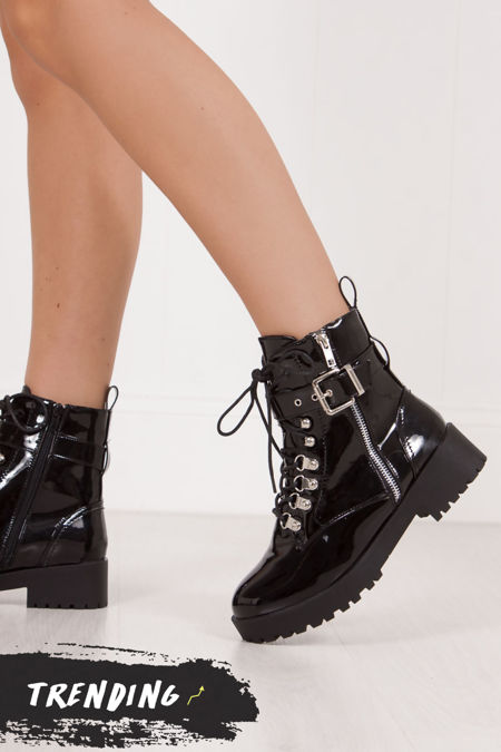 SHARNIE Black High Shine Buckle Strap Biker Boots