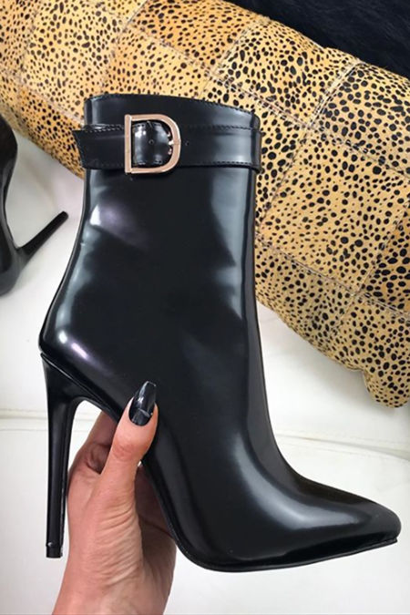 HADLEY Black Matte Buckle Strap Stiletto Boots