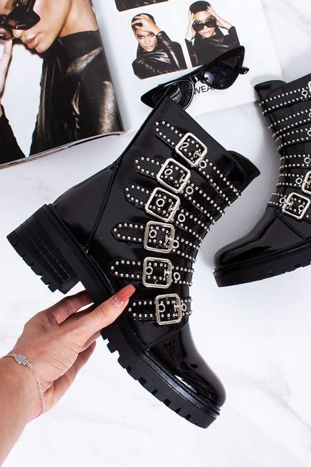 HOPE Black Patent Stud Buckle Strap Biker Boots