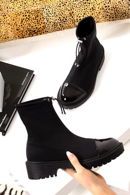TYRA Black Lycra Toggle Ankle Sock Boots