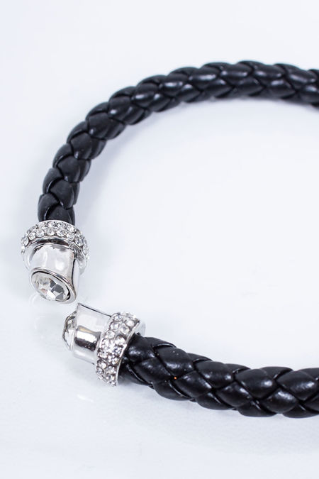 TAYLOR Black Plaited Diamante Bracelet