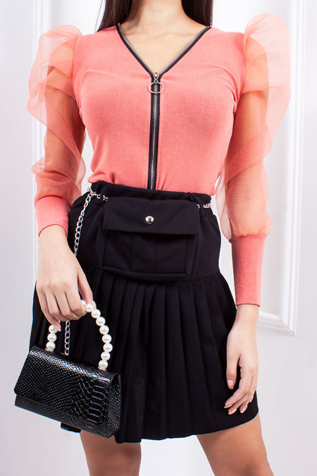 TEGAN Black Belt Bag Pleated Skirt