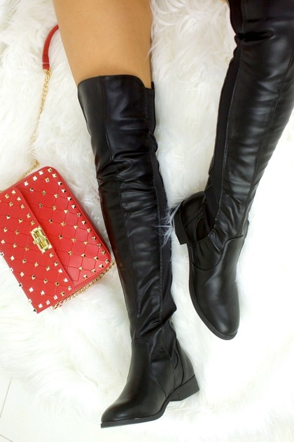 BRIA Black Faux Leather Over Knee Boot