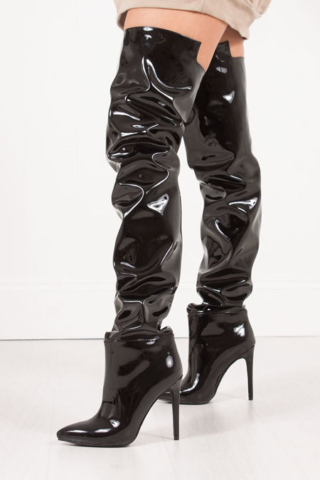 NATALYA Black PVC Thigh High Boots With Stiletto Heel