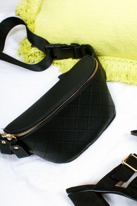 RILEY Black Zip Top Bum Bag