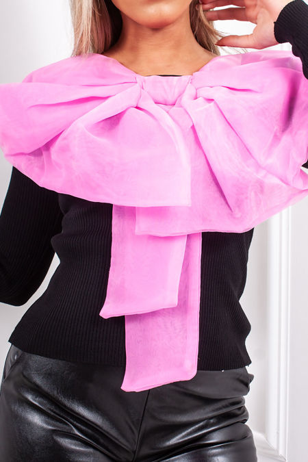 GRACE Black Ribbed Pink Bow Front Jumper
