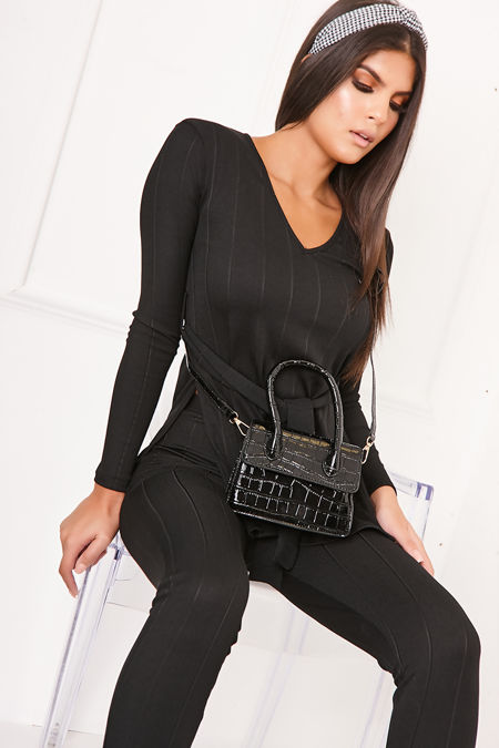 MADDIE Black Ribbed Tie Front Co-Ord Lounge Set