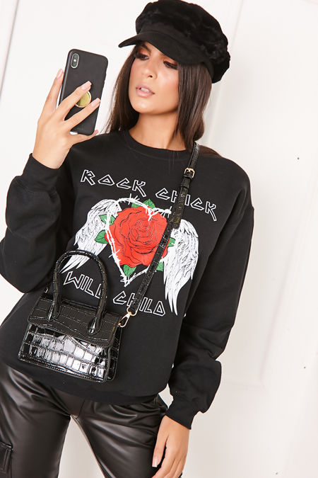 MELANIE Black Rock Chick Slogan Jumper