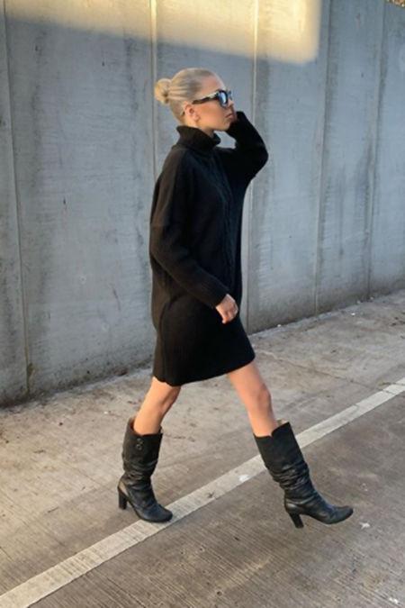 NANCY Black Roll Neck Cable Knit Jumper Dress