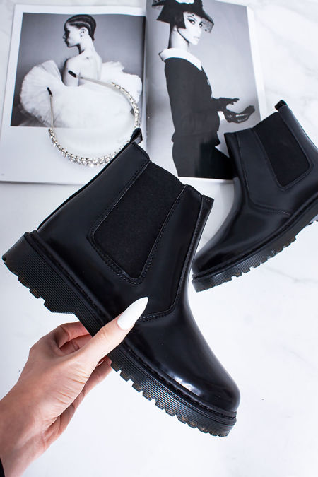 SURI Black Faux Leather High Shine Chelsea Boots