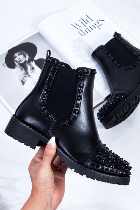 THEA Black PU Ankle Boots With Black Spike Stud Details