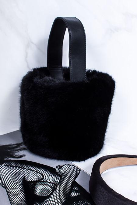 ISABELLA Black Faux Fur Bucket Bag