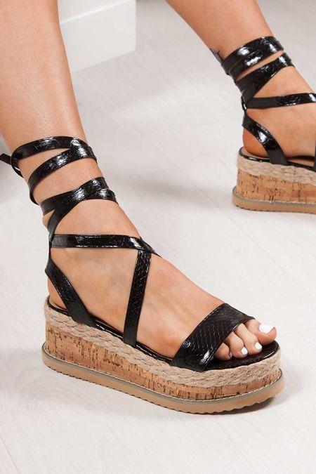 INDIGO Black Croc Print Wrap Up Espadrille Flatforms