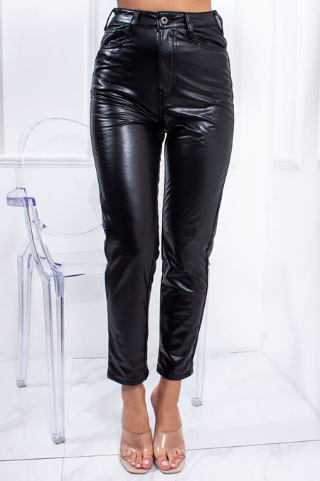 ELINA Black Faux Leather High Waisted Mom Trousers