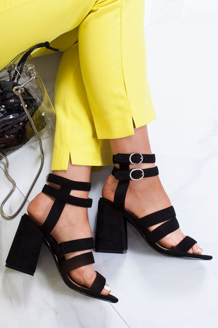 ESME Black Strappy Block Heeled Sandals
