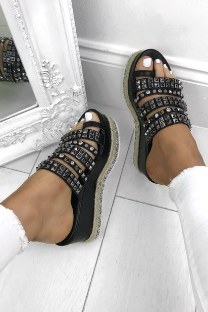 DARCY Black Stud Diamante Espadrille Flatforms With Silver Detail