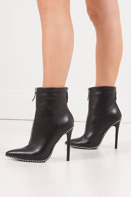 LEONA Black PU Studded Stiletto Boots