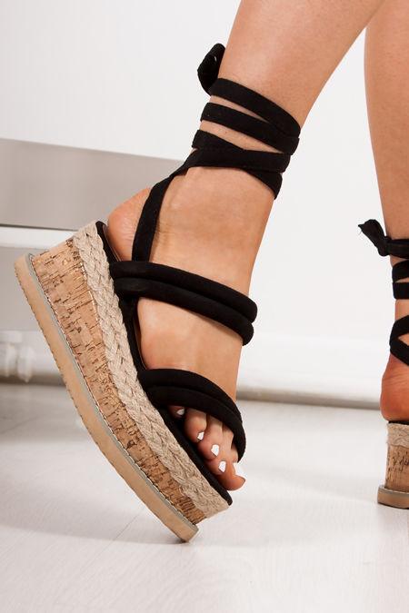 b179685f3106 HARLOW Black Faux Suede Wrap Up Flatform Espadrille Sandals