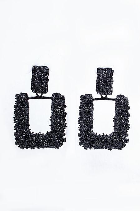 VANESSA Black Textured Square Earrings