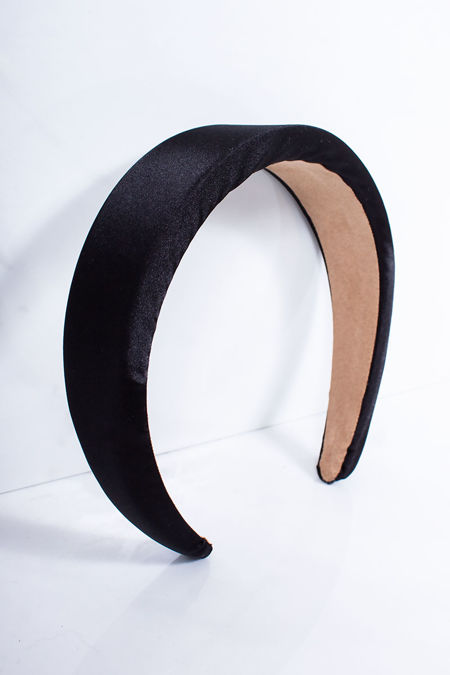 KAYLA Black Satin Padded Headband