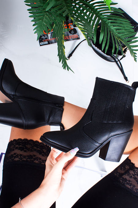 IVY Black Pointed Toe Block Heel Western Boots