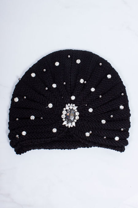PIPER Black Diamante And Pearl Embellished Turban Hat