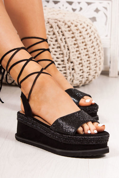 RAFIELLA Black Diamante Strap Wrap Up Espadrille Flatforms