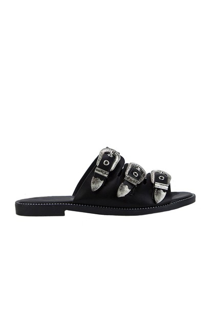 JADA Black Buckle Slider Sandals With Silver Detail