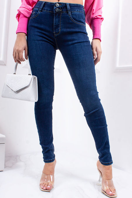 JOY Mid Blue Stretch High Waisted Skinny Jeans