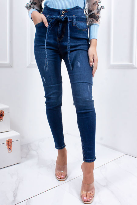 SARAH Mid Blue High Waisted Belted Skinny Jeans