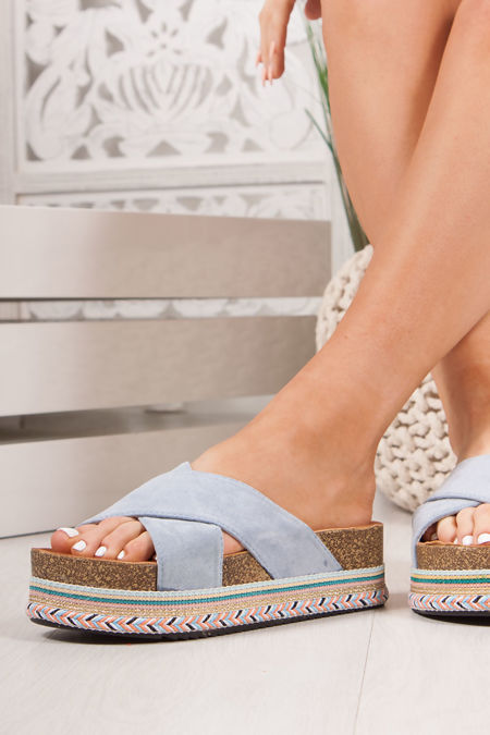 ROXIE Blue Cross Strap Aztec Flatform Sandals