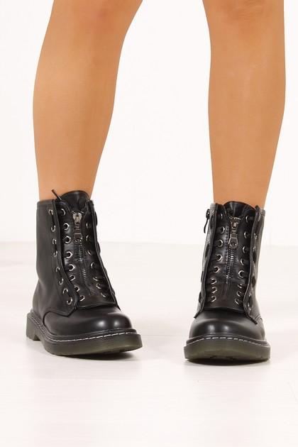 BROOKLYN Black Matte Zip Front Lace Detail Ankle Boots