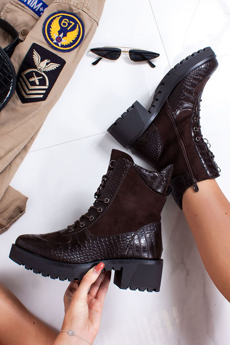 NINA Brown Faux Leather Croc Print Hiker Boots