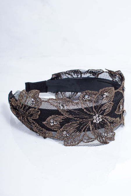 REAGAN Gold Lace Flower Headband
