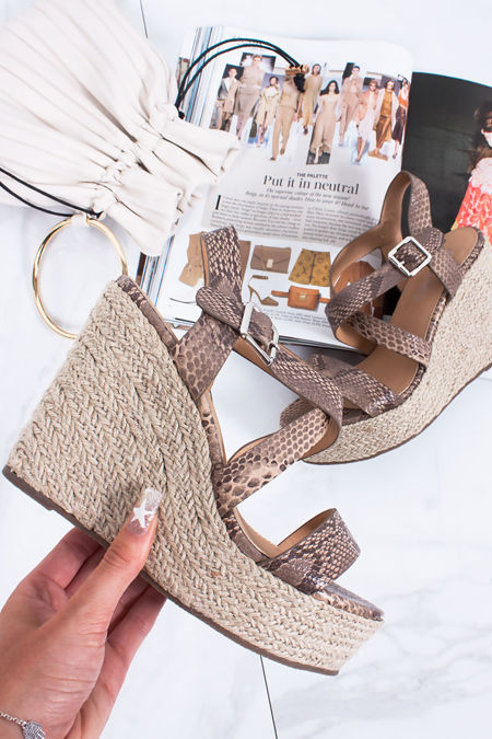 ZARA Brown Snake Print Strappy Espadrille Wedges