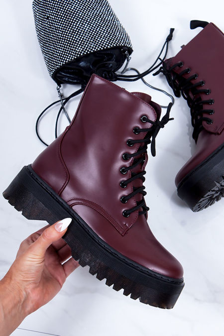 MARIANA Wine Matte Chunky Platform Lace Up Ankle Boots