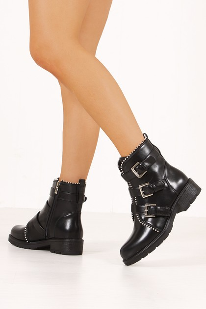 CALLIE Black Silver Trim Buckle Strap Boots