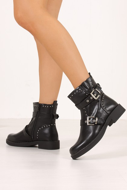 CASEY Black Buckle Strap Eyelet Detail Ankle Boots