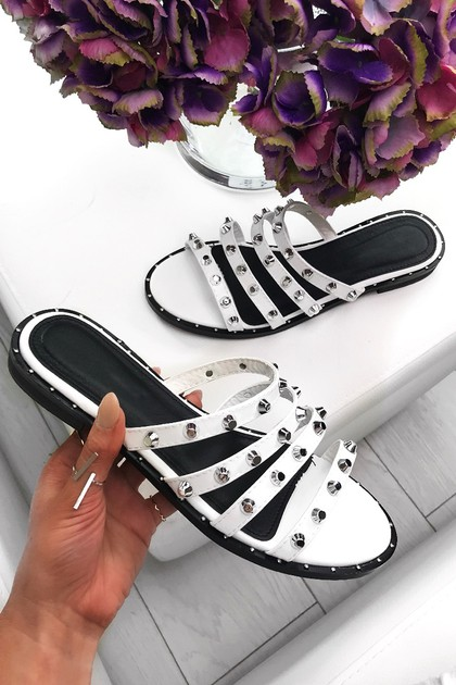 CHANTELLE White Strappy Stud Sliders