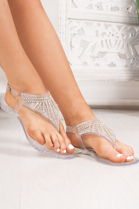 AVERY Clear Diamante Embellished Jelly Sandals