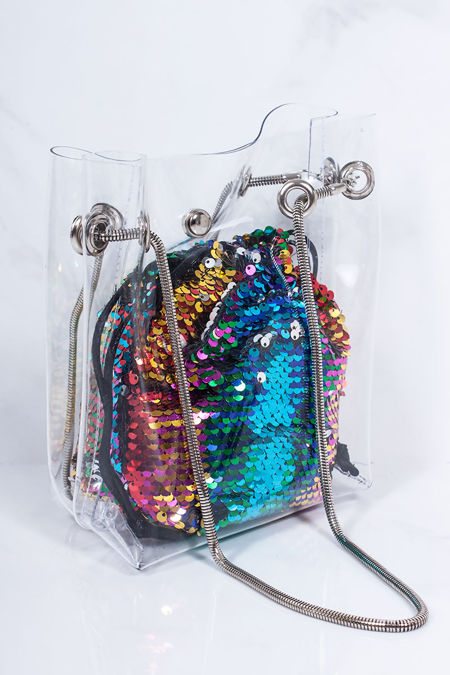 ROSIE Multi Sequin Clear Bucket Bag