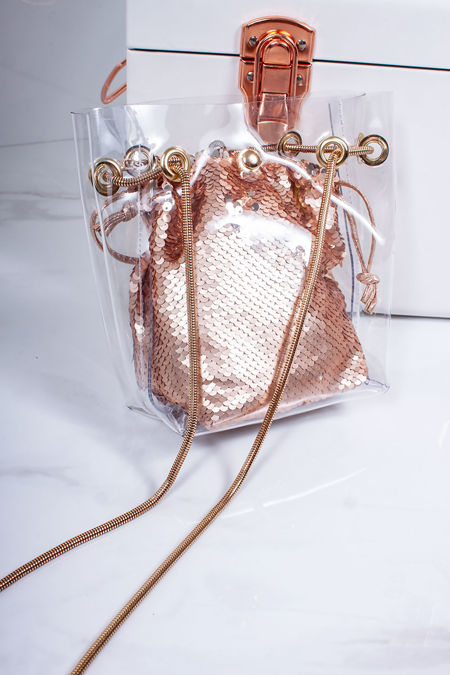 ROSIE Rose Gold Sequin Clear Bucket Bag