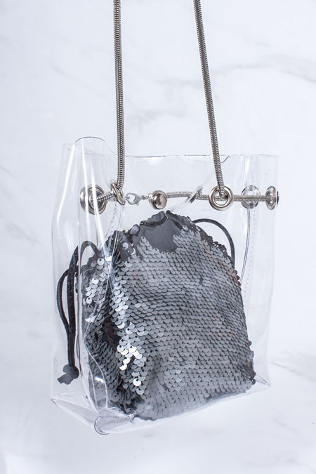 ROSIE Silver Sequin Clear Bucket Bag