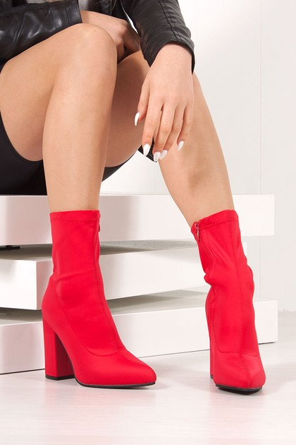 CORA Red Lycra Block Heel Ankle Boots