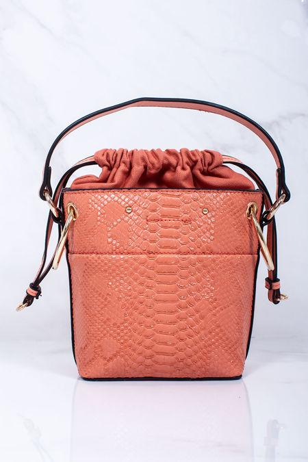 PENNY Coral Croc Print Bucket Bag
