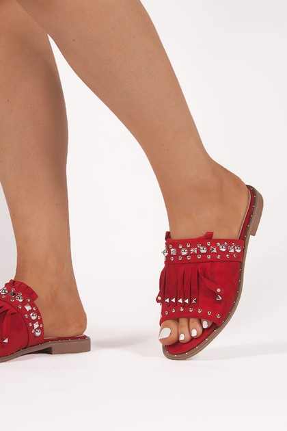 COURTNEY Red Fringe Sliders With Silver Stud Details