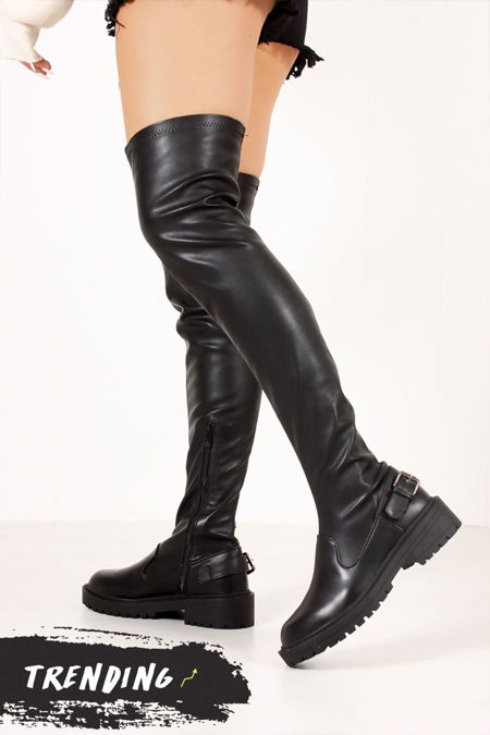 ELIZA Black Faux Leather Buckle Strap Flat Over The Knee Boots