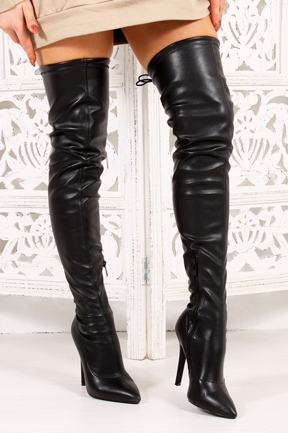 ELOISE Black Faux Leather Thigh High Stiletto Boots