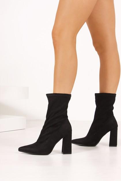 ELSA Black Faux Suede Block Heel Sock Boots